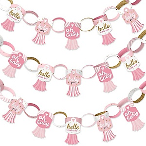 Hello Little One - Pink and Gold - 90 Chain Links and 30 Paper Tassels Decoration Kit - Girl Baby Shower Paper Chains Garland - 21 feet