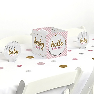 Hello Little One - Pink and Gold - Girl Baby Shower Centerpiece and Table Decoration Kit
