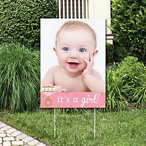 Hello Little One - Pink and Gold - Photo Yard Sign - Girl Baby Shower Party Decorations