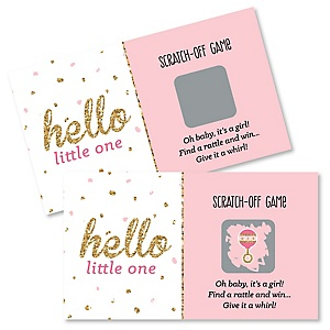 Hello Little One - Pink and Gold - Girl Baby Shower Game Scratch Off Cards - 22 ct