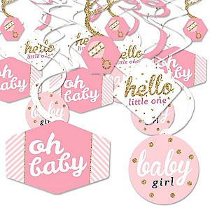 Hello Little One - Pink and Gold - Girl Baby Shower Hanging Decor - Party Decoration Swirls - Set of 40