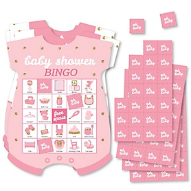 Hello Little One - Pink and Gold - Picture Bingo Cards and Markers - Girl Baby Shower Shaped Bingo Game - Set of 18