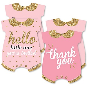 Hello Little One - Pink and Gold - 20 Shaped Fill-In Invitations and 20 Shaped Thank You Cards Kit - Girl Baby Shower Stationery Kit - 40 Pack
