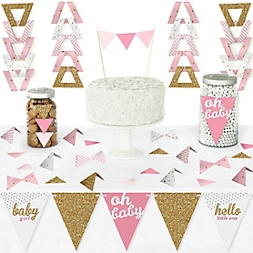 Hello Little One - Pink and Gold - DIY Pennant Banner Decorations - Girl Baby Shower Triangle Kit - 99 Pieces