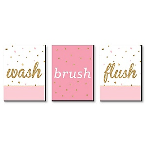 """Girl - Pink and Gold - Kids Bathroom Rules Wall Art - 7.5"""" x 10"""" - Set of 3 Signs - Wash, Brush, Flush"""