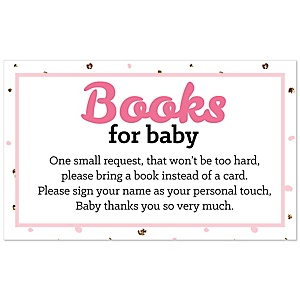 Hello Little One – Pink and Gold - Girl Baby Shower Book Instead of Card Request Insert – Set of 18