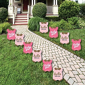 Hello Little One - Pink and Gold - Baby Bodysuit Lawn Decorations - Outdoor Girl Baby Shower Yard Decorations - 10 Piece