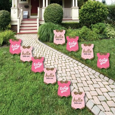 Hello Little One   Pink And Gold   Baby Bodysuit Lawn Decorations   Outdoor  Girl Baby Shower Yard Decorations   10 Piece