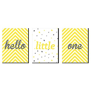 Hello Little One - Yellow and Gray - Baby Girl or Boy Nursery Wall Art and Kids Room Décor - 7.5 x 10 inches - Set of 3 Prints