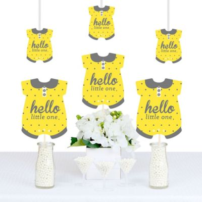 Hello Little One   Yellow And Gray   Baby Bodysuit Neutral Baby Shower  Decorations DIY Party