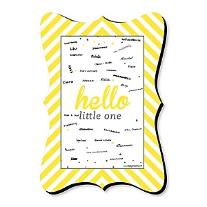 Hello Little One - Yellow and Gray - Unique Alternative Guest Book - Neutral Baby Shower Signature Mat