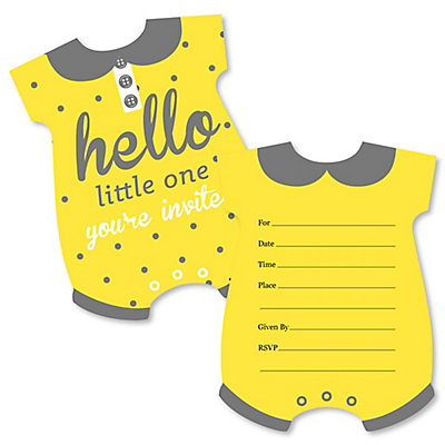Hello little one yellow and gray shaped fill in invitations hello little one yellow and gray shaped fill in invitations neutral baby shower invitation cards with envelopes set of 12 filmwisefo