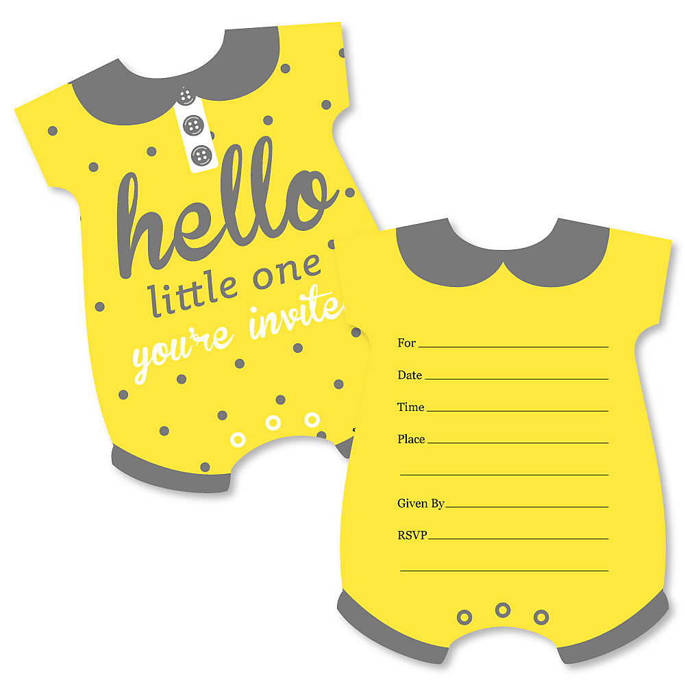 Hello Little One Yellow And Gray Shaped Fill In Invitations Neutral Baby Shower Invitation Cards With Envelopes Set Of 12