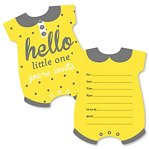 Hello little one yellow and gray baby shower decorations theme hello little one yellow and gray shaped fill in invitations neutral baby filmwisefo