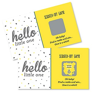 Hello Little One - Yellow and Gray - Neutral Baby Shower Game Scratch Off Cards - 22 ct