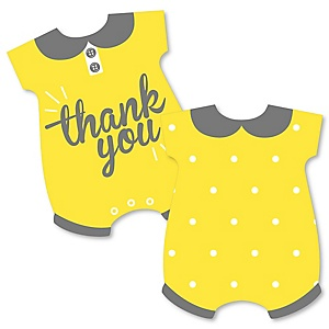 Hello Little One - Yellow and Gray - Shaped Thank You Cards - Neutral Baby Shower Thank You Note Cards with Envelopes - Set of 12