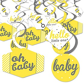 Hello Little One - Yellow and Gray - Neutral Baby Shower Hanging Decor - Party Decoration Swirls - Set of 40