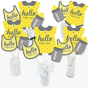 Hello Little One - Yellow and Gray - Neutral Baby Shower Centerpiece Sticks - Table Toppers - Set of 15