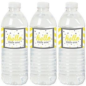 Hello Little One - Yellow and Gray - Neutral Baby Shower Water Bottle Sticker Labels - Set of 20