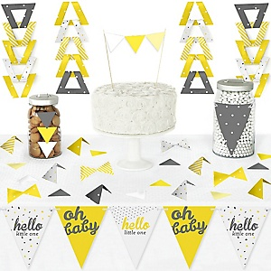 Hello Little One - Yellow and Gray - DIY Pennant Banner Decorations - Neutral Baby Shower Triangle Kit - 99 Pieces