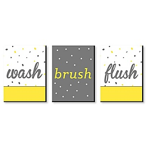 Yellow and Gray - Kids Bathroom Rules Wall Art - 7.5 x 10 inches - Set of 3 Signs - Wash, Brush, Flush