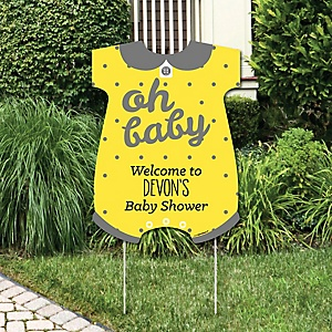 Hello Little One - Yellow and Gray - Party Decorations - Neutral Baby Shower Personalized Welcome Yard Sign