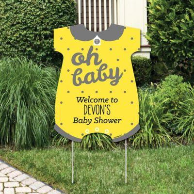 Hello Little One   Yellow And Gray   Party Decorations   Neutral Baby Shower  Personalized Welcome
