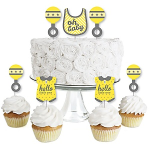 Hello Little One - Yellow and Gray - Dessert Cupcake Toppers - Neutral Baby Shower Clear Treat Picks - Set of 24