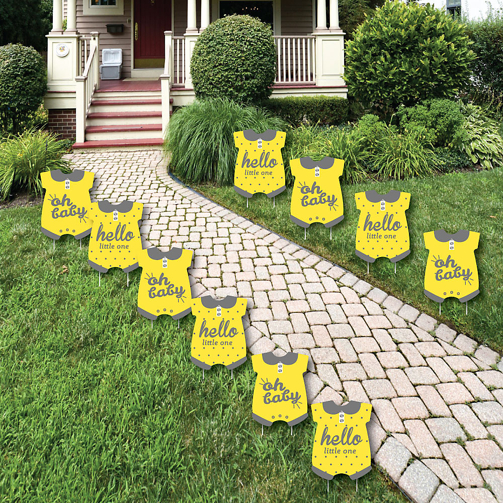 Hello Little One Yellow And Gray Baby Bodysuit Lawn Decorations