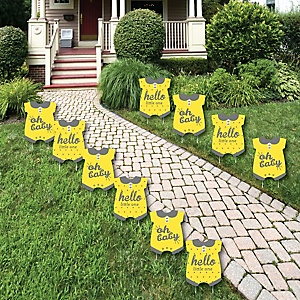 Hello Little One - Yellow and Gray - Baby Bodysuit Lawn Decorations - Outdoor Neutral Baby Shower Yard Decorations - 10 Piece