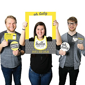 Hello Little One - Yellow and Gray - Personalized Baby Shower Selfie Photo Booth Picture Frame & Props - Printed on Sturdy Material