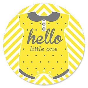 Hello Little One - Yellow and Gray - Neutral Baby Shower Theme