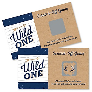 He's a Wild One - Deer 1st Birthday Party Game Scratch Off Cards - 22 ct