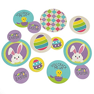Hippity Hoppity  - Easter Bunny Party Giant Circle Confetti - Easter Party Decorations - Large Confetti 27 Count
