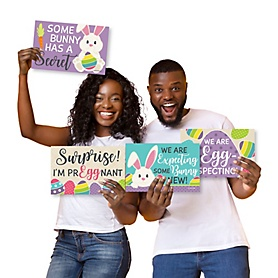 Hippity Hoppity - Photo Prop Signs - Easter Bunny Pregnancy Announcements - 10 Pieces