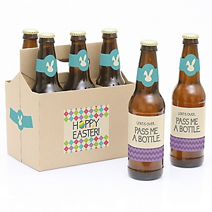 Hippity Hoppity - Easter Bunny - Decorations for Women and Men - 6 Beer Bottle Labels and 1 Carrier