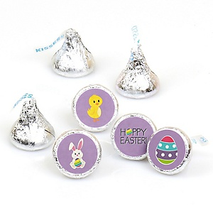 Hippity Hoppity - Easter Bunny Round Candy Easter Labels Party Favors - Fits Hershey's Kisses - 108 ct