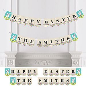 Hippity Hoppity - Easter Bunny Personalized Easter Party Bunting Banner & Decorations