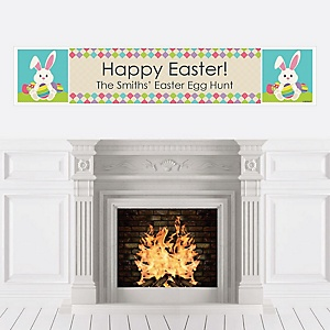 Hippity Hoppity - Easter Bunny Personalized Easter Party Banner