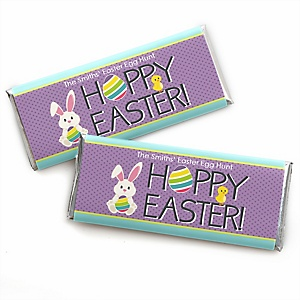 Hippity Hoppity - Easter Bunny - Personalized Candy Bar Wrapper Easter Party Favors - Set of 24