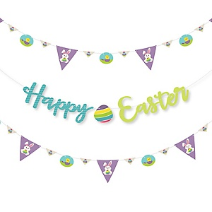 Hippity Hoppity - Easter Bunny Party Letter Banner Decoration - 36 Banner Cutouts and Happy Easter Banner Letters