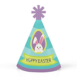 Hippity Hoppity - Easter Bunny Personalized Mini Cone Easter Party Hats - Small Little Party Hats - Set of 10