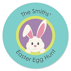 Hippity Hoppity - Easter Bunny Personalized Easter Party Sticker Labels - 24 ct