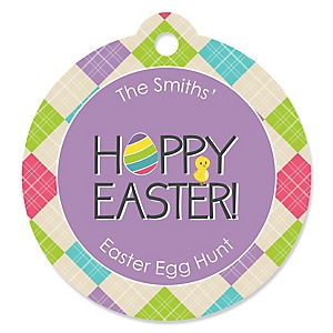 Easter holiday hippity hoppity easter bunny personalized easter party favor gift tags 20 ct negle Images