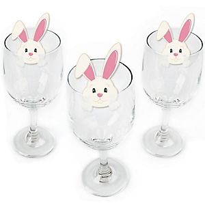Hippity Hoppity - Easter Bunny Shaped Easter Party Wine Glass Markers - Set of 24