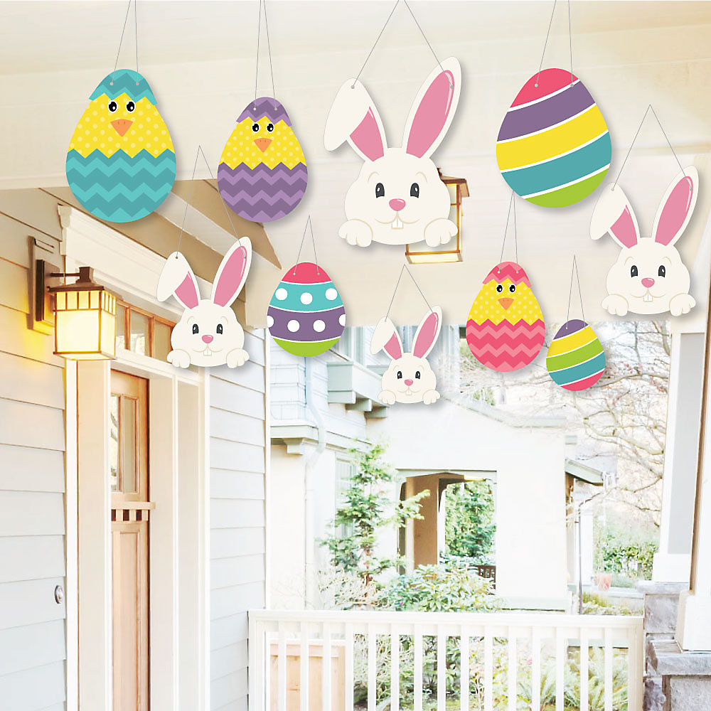 Hanging Hippity Hoppity Outdoor Easter Bunny Party Hanging Porch