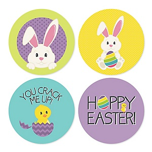 Hippity Hoppity - Easter Bunny Assorted Easter Party Sticker Labels - 24 ct