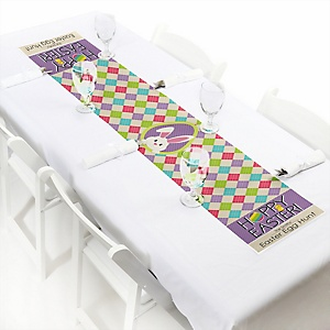 "Hippity Hoppity - Easter Bunny Personalized Petite Easter Party Table Runner - 12"" x 60"""