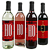 Jolly Santa Claus - Christmas Wine Bottle Label Stickers - Set of 4