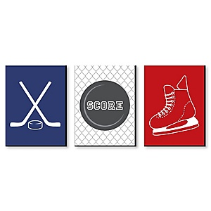 "Shoots & Scores! - Hockey - Sports Themed Wall Art & Kids Room Décor - 7.5"" x 10"" - Set of 3 Prints"